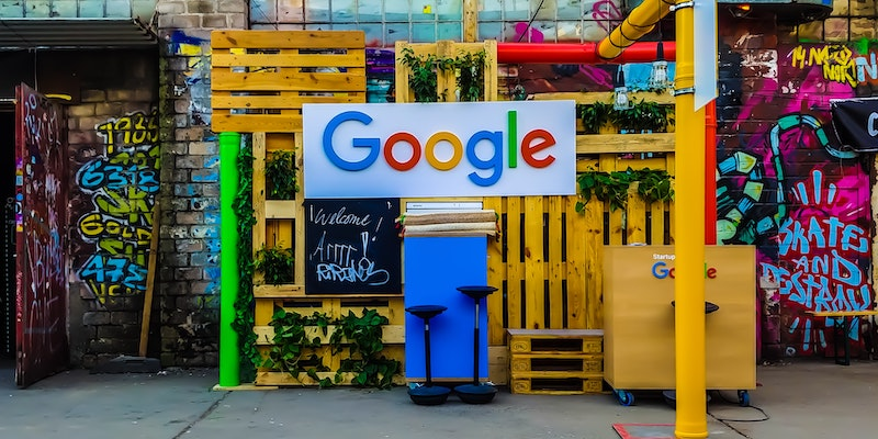 Google stall at an event in Cologne, Germany