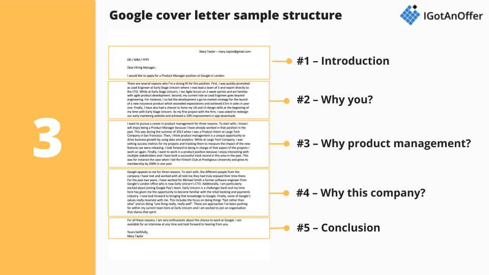 Google PM cover letter sample structure