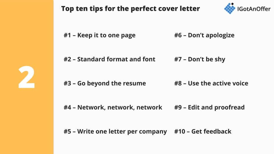 Top ten PM cover letter tips