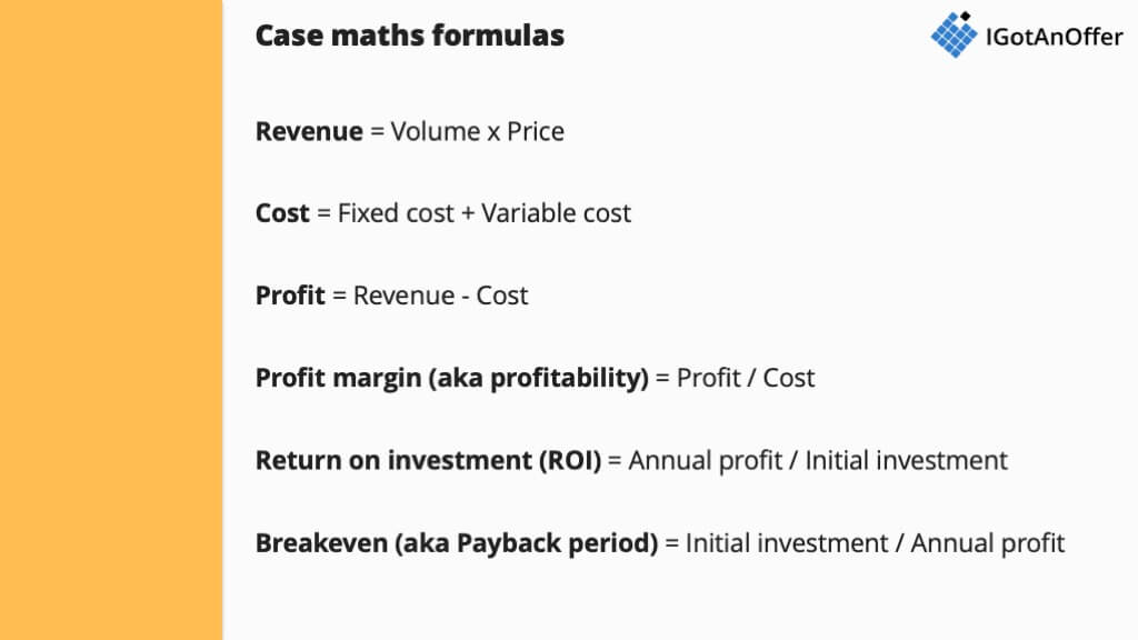Case interview maths - Practice tools, formulas and tips