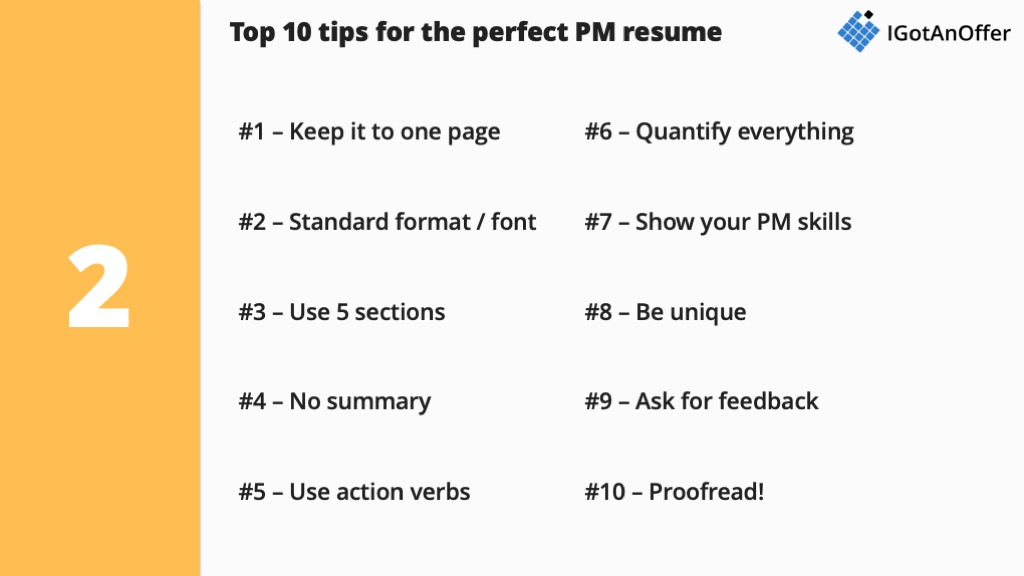 Product Manager Resume - Writing tips and Template (2019) – IGotAnOffer