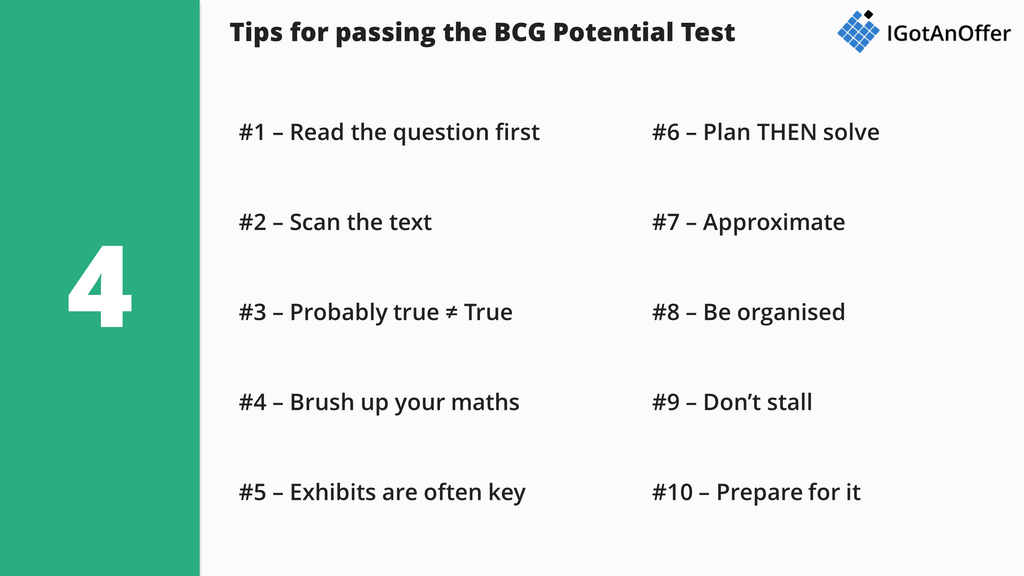 BCG Potential Test tips for passing