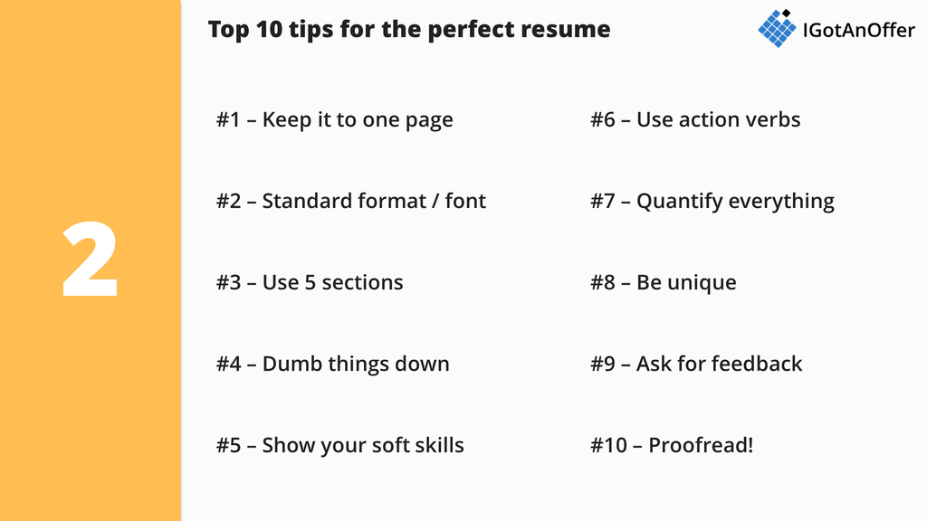Top 10 Tips For The Perfect Consulting Resume