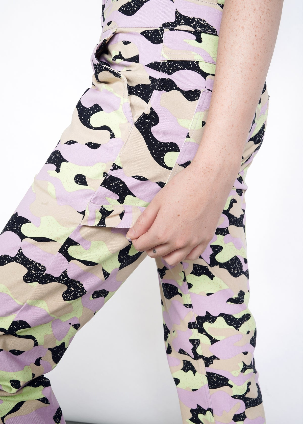 Lavender, celadon, and black camouflage jumpsuit coverall pant leg with hammer loop and front and back pockets