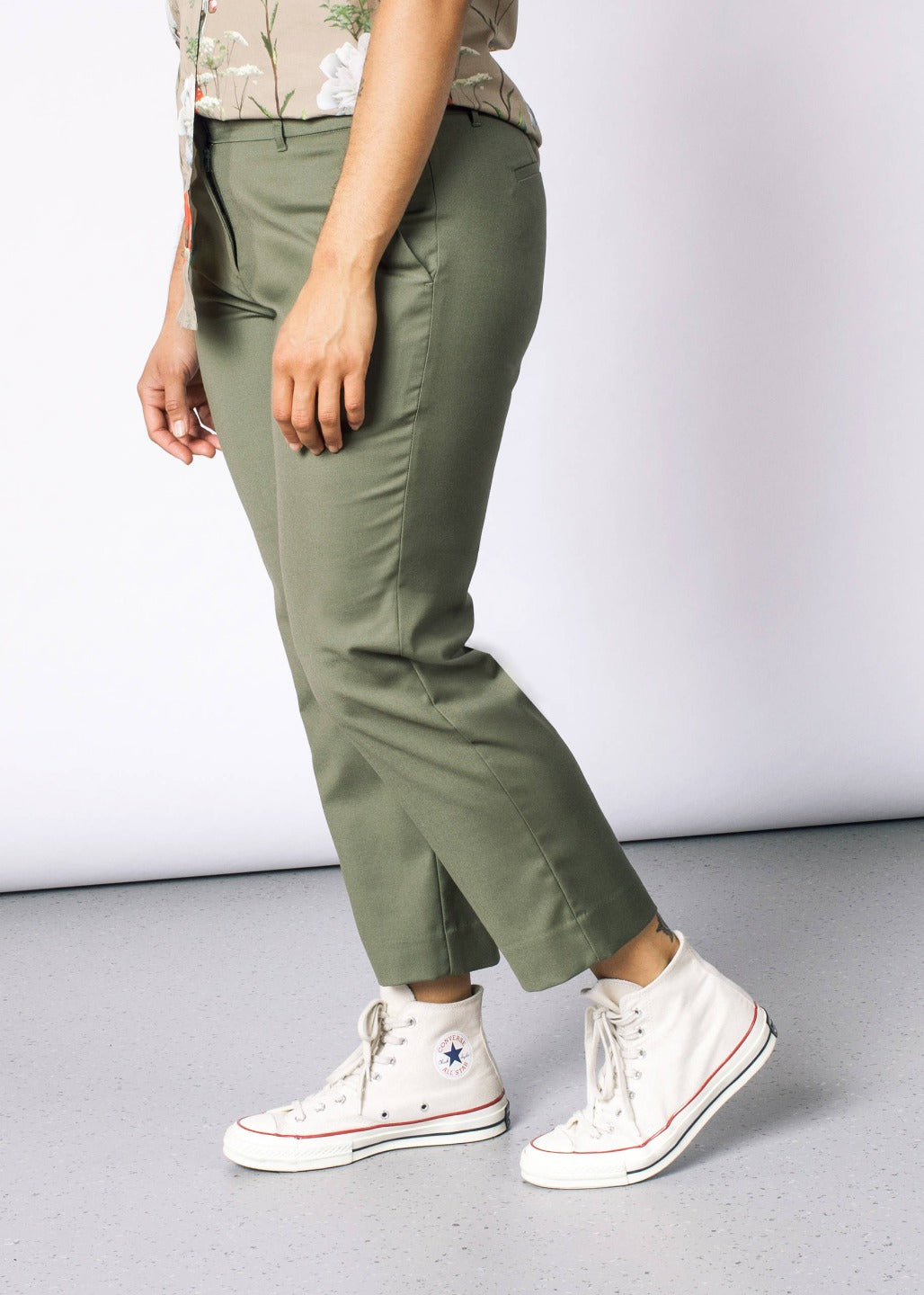 Empower Olive Slim Crop Pant