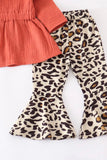 Coral Tie Front and Leopard Bell Pants Set