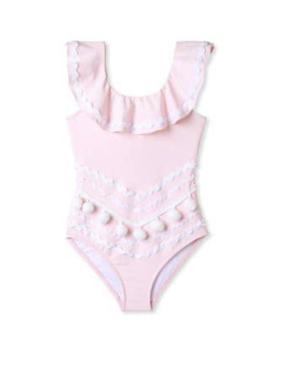 Pink Drape Swimsuit with White Ric Rac and Pom Poms