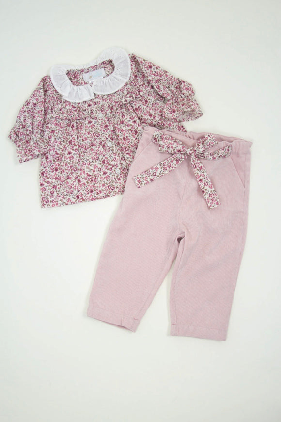 Freesia Ruffle Blouse with Corduroy Pant in Dusty Rose