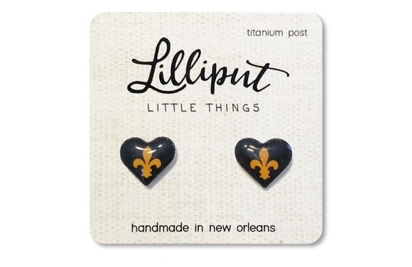 Fleur de Lis Heart Titanium Earrings
