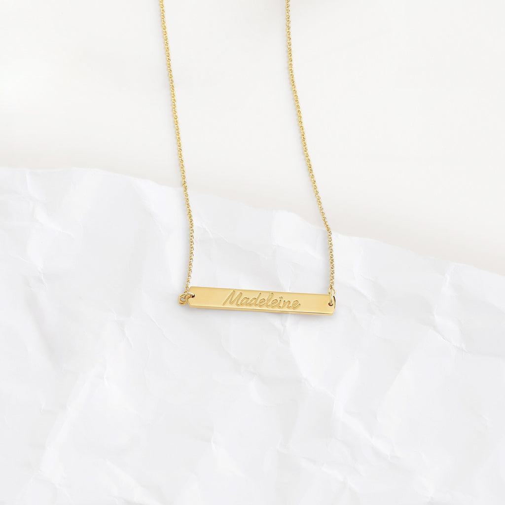 Custom Horizontal Bar Necklace (Engraving/Gold) from Capsul Jewelry ?id=15024592388176