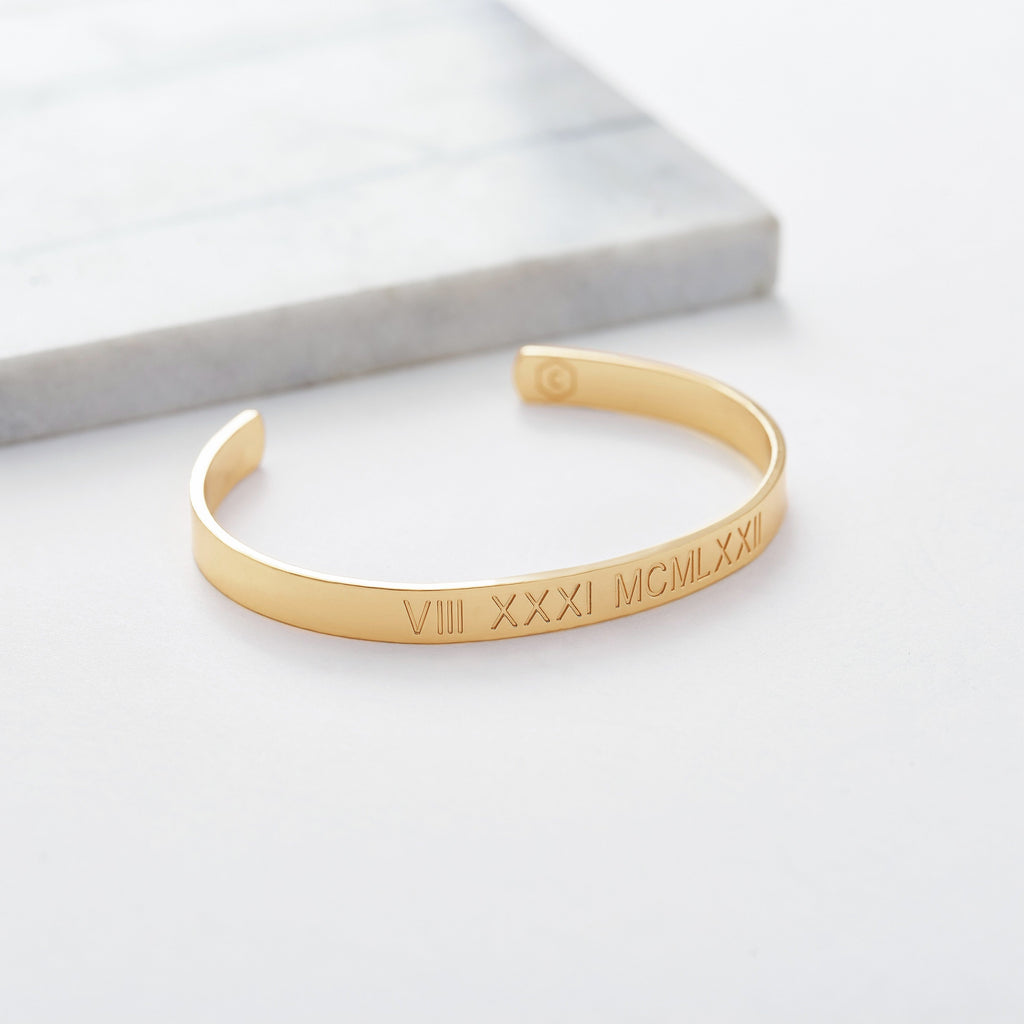 Custom Medium Classic Cuff (Roman Numeral/Gold) from Capsul Jewelry ?id=15024562733136