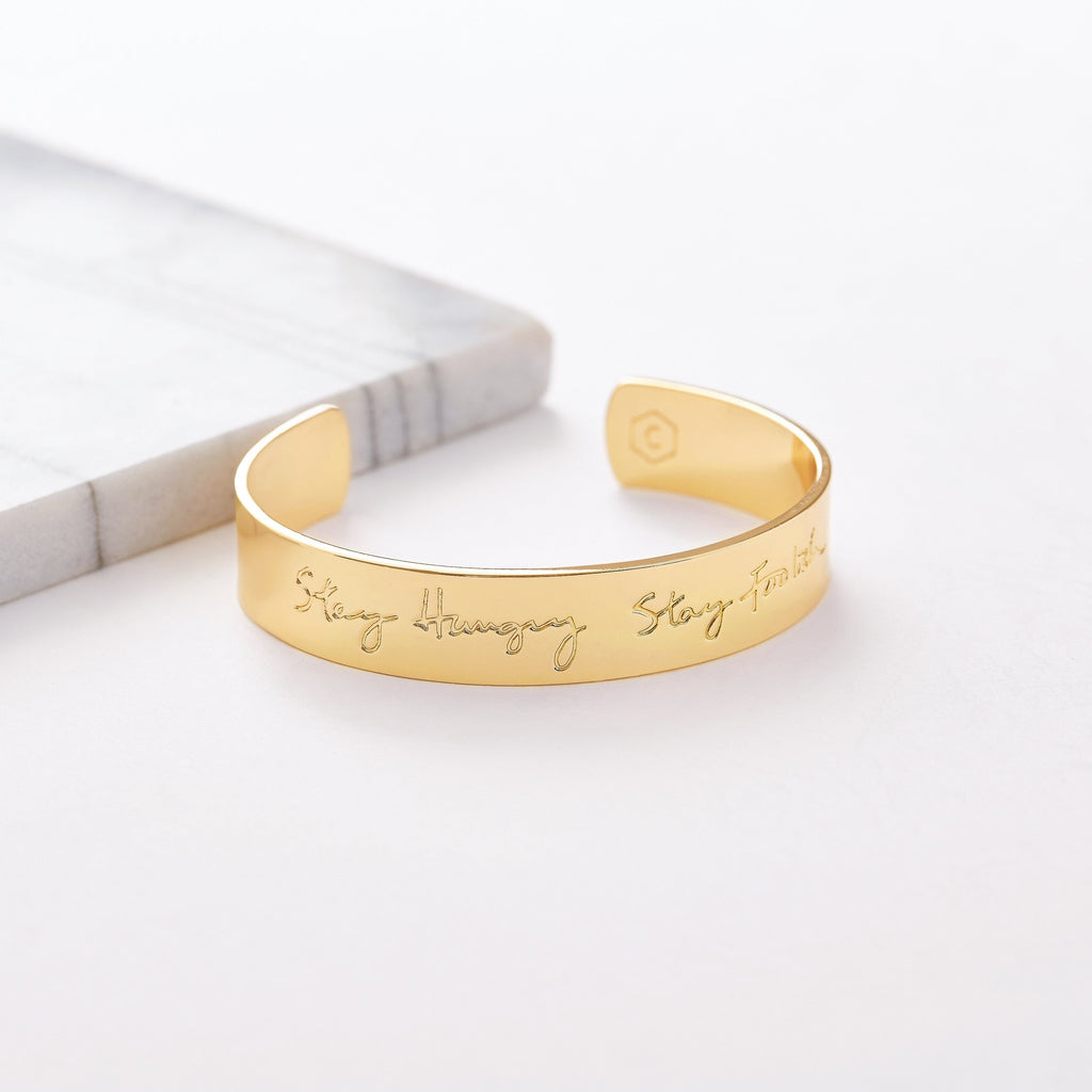 Custom Wide Classic Cuff (Handwriting/Gold) from Capsul Jewelry ?id=15024628695120