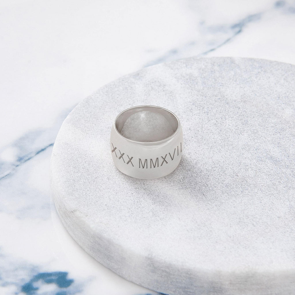 Custom Wide Classic Ring (Roman Numeral/Silver) from Capsul Jewelry ?id=15925129085008