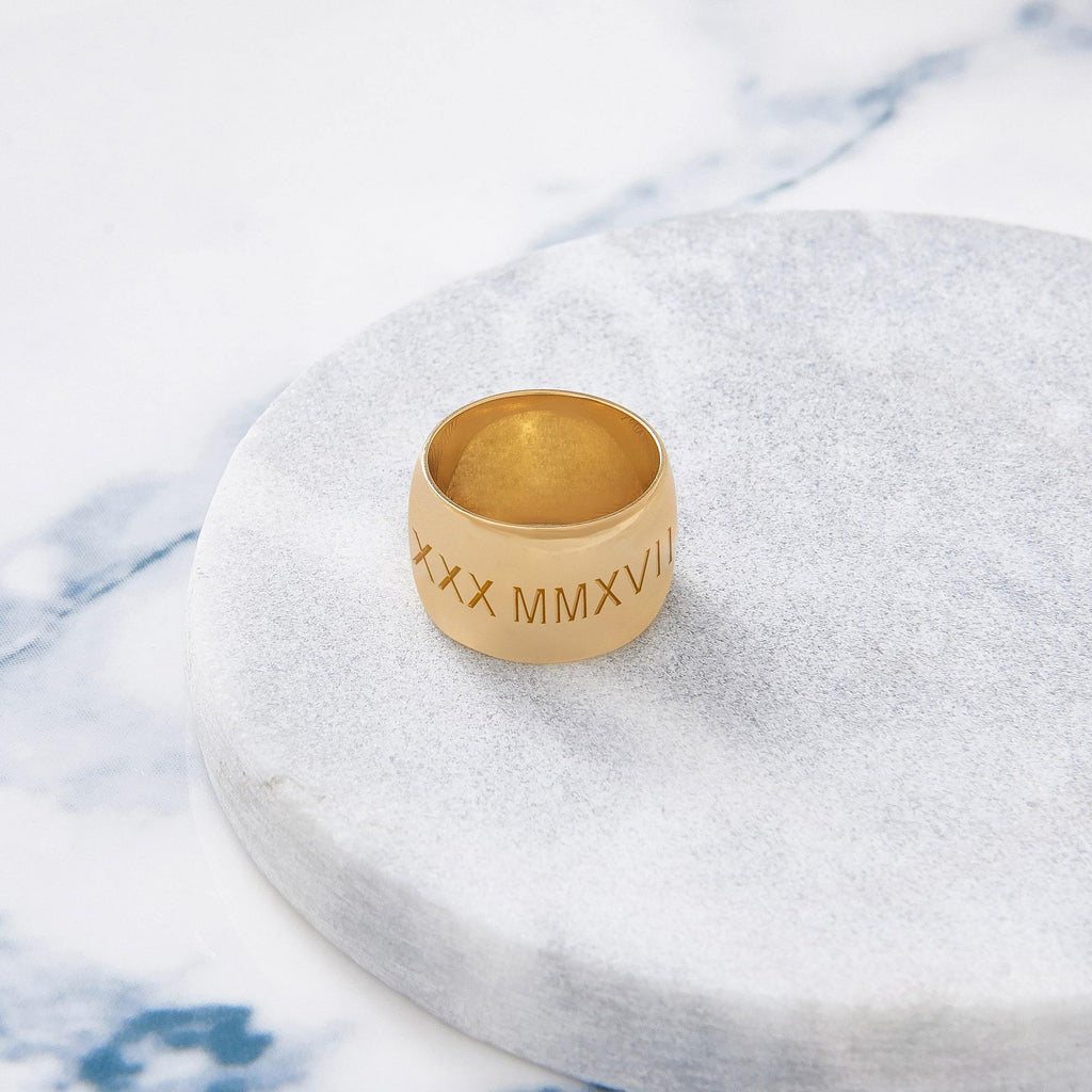 Custom Wide Classic Ring (Roman Numeral/Gold) from Capsul Jewelry ?id=15925237579856