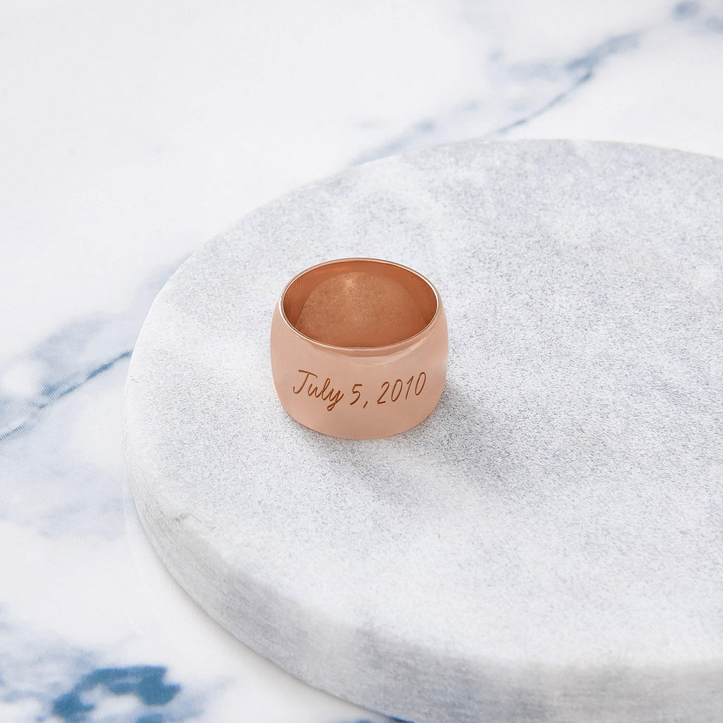 Custom Wide Classic Ring (Engraving/Rose Gold) from Capsul Jewelry ?id=15925118926928