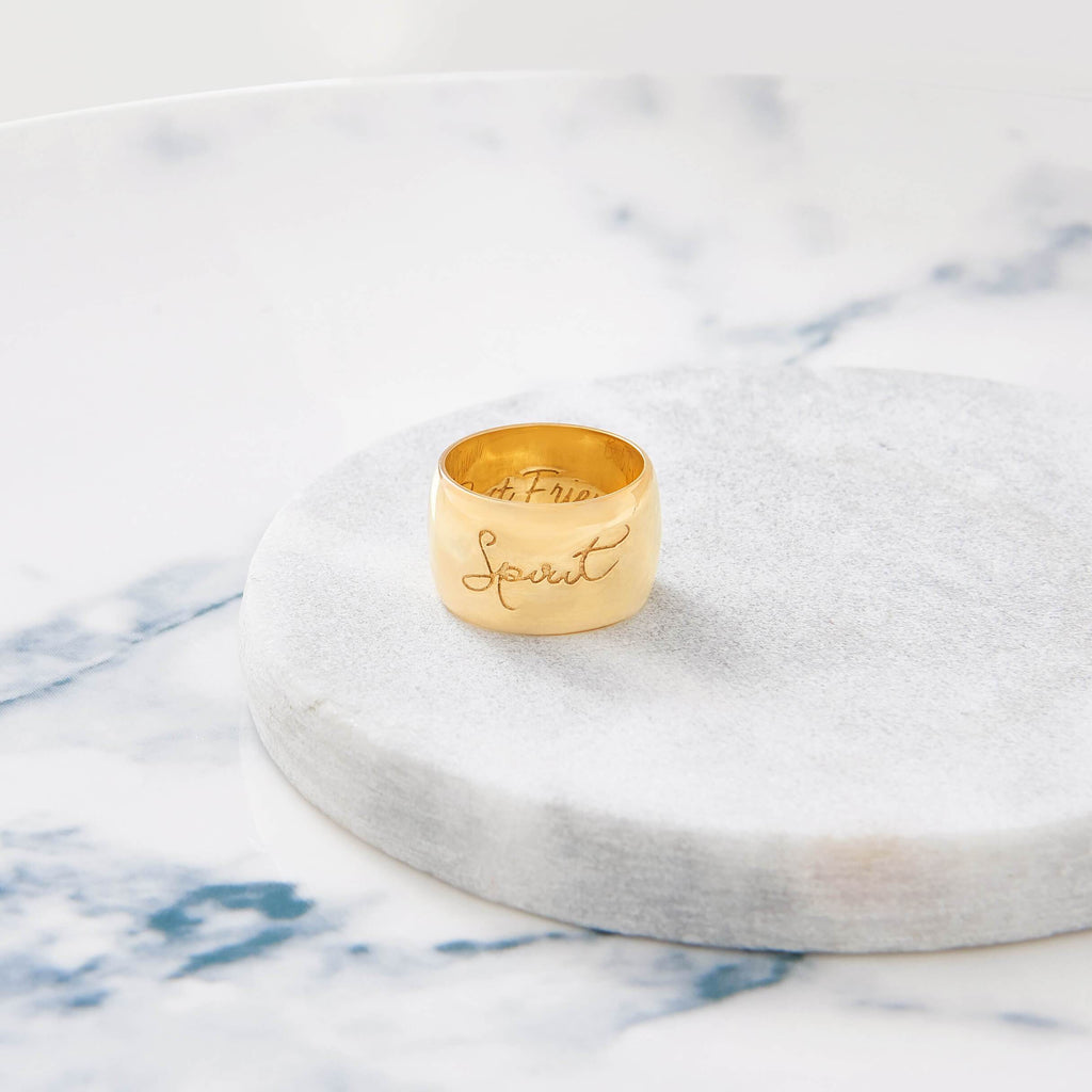 Custom Wide Classic Ring (Handwriting/Gold) from Capsul Jewelry ?id=16137817292880
