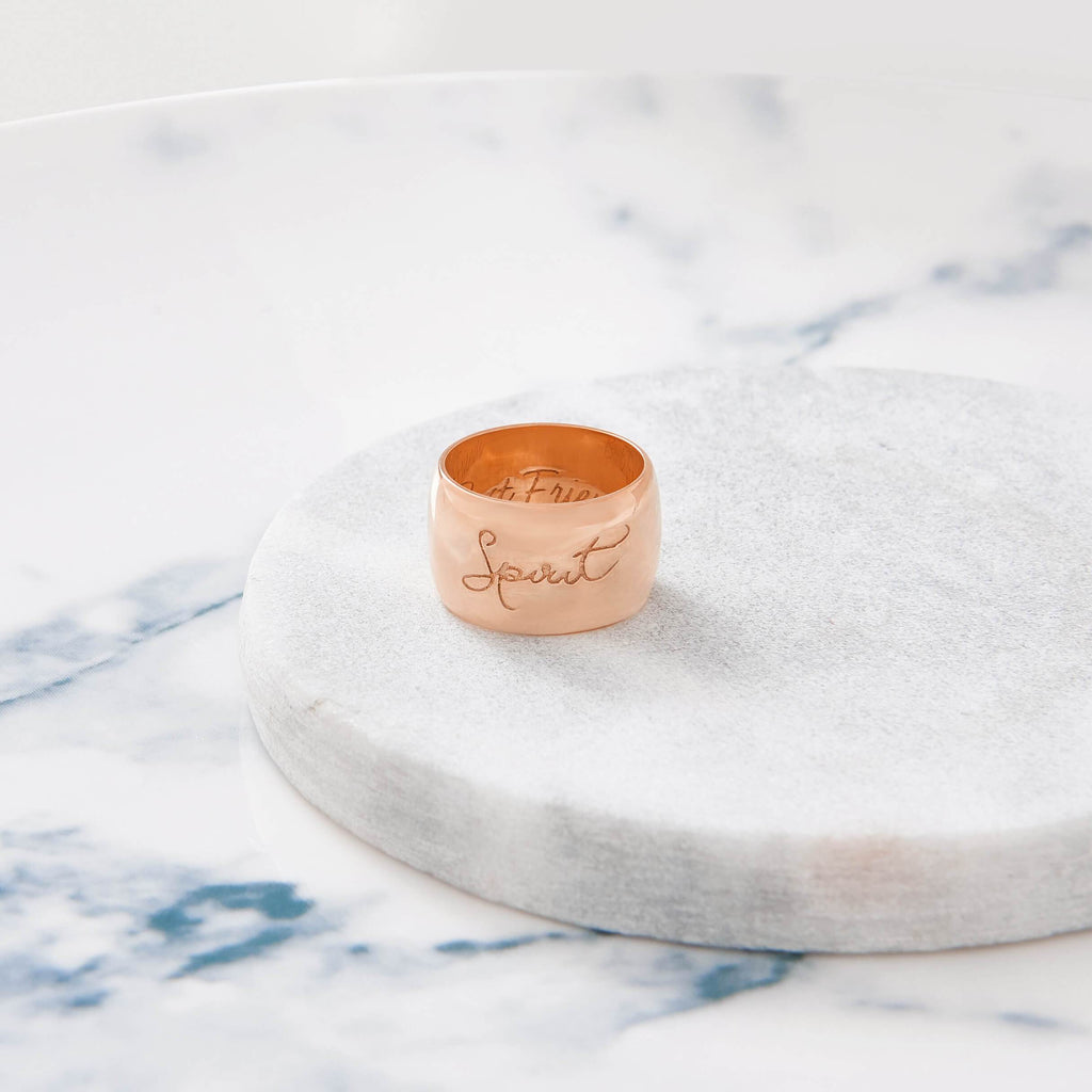 Custom Wide Classic Ring (Handwriting/Rose Gold) from Capsul Jewelry ?id=16137818308688