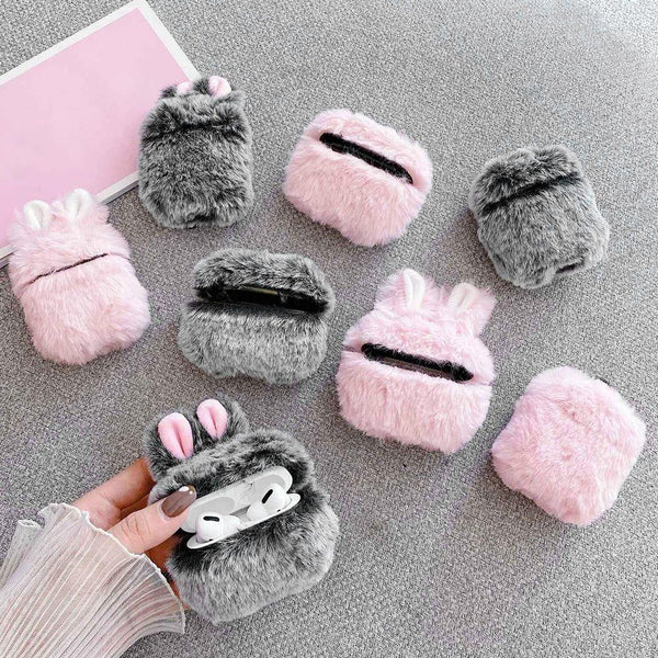 On Trend Rabbit Ear Fur AirPod Case - On Trend Cases