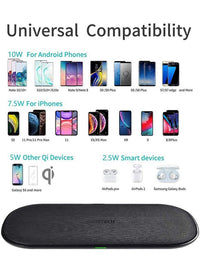 CHOETECH Dual Wireless Charger, 5 Coils Qi Certified Fast Wireless Charging Pad Compatible iPhone 12  and other Qi Enabled Devices