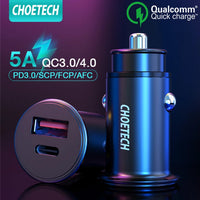 CHOETECH PD+QC 3.0 Mini Fast Car Charger USC-C,A Ports for Samsung,Xiaomi,iPhone and Huawei