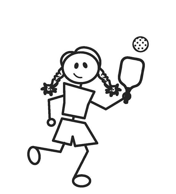 Pickleball Car Decal - Girl