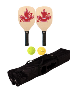 Premium Wooden 2 Paddle + Net Package