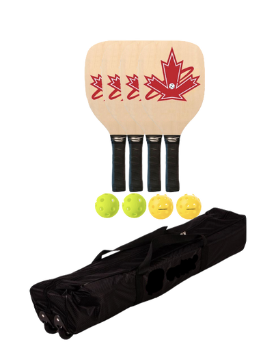 Premium Wooden 4 Paddle + Net Package