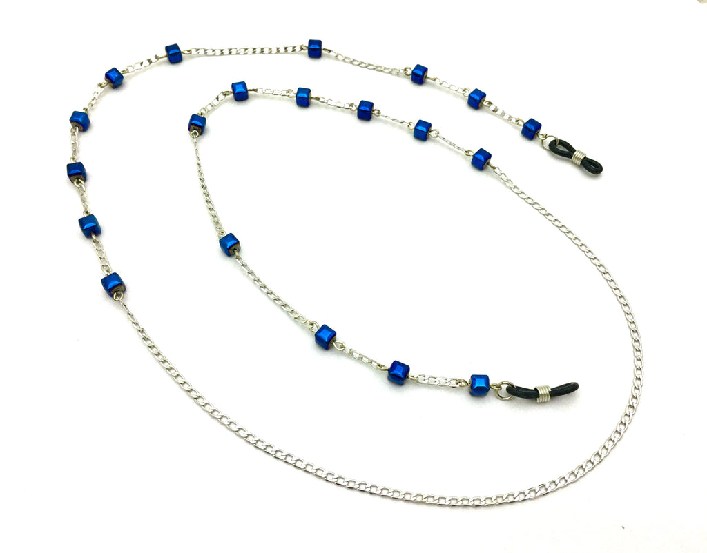 Handmade Glasses cord with blue colored Hematite stones