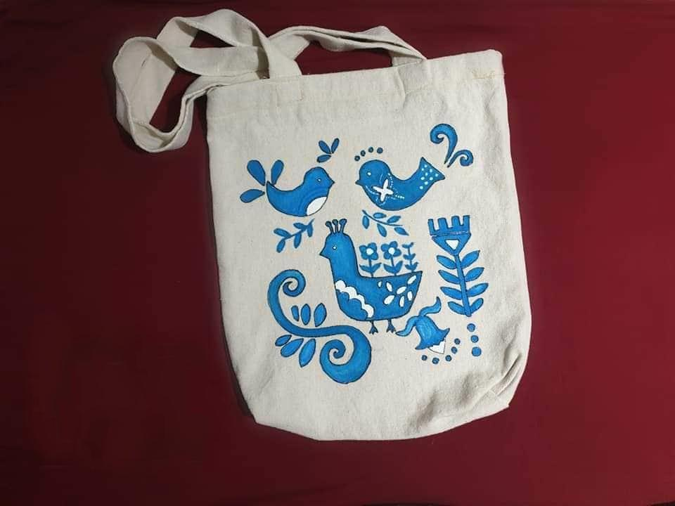 blue birds tote bag