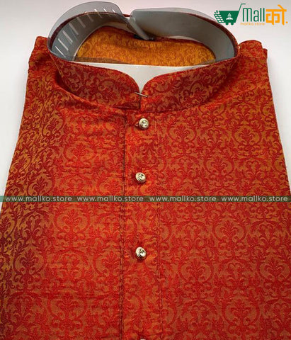 KURTA PAJAMA SET (Red/Banarasi Silk)