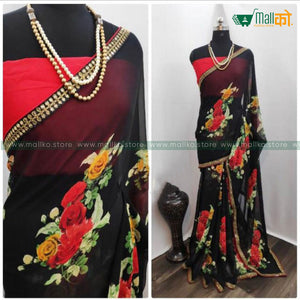Flower Printed Saree with Blouse