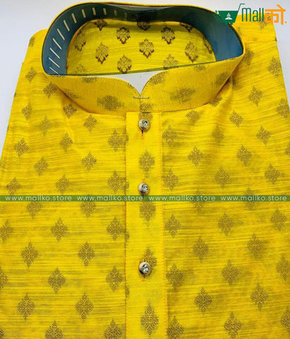 KURTA PAJAMA SET (Yellow/Cotton Silk Mix)