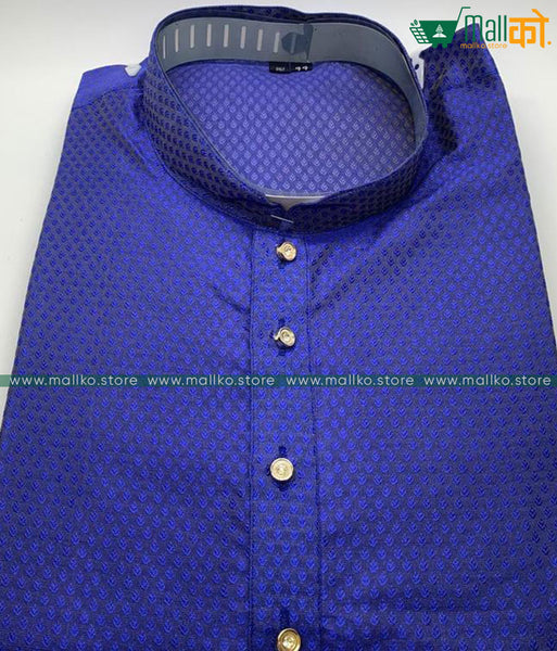 KURTA PAJAMA SET (Blue/Silk)
