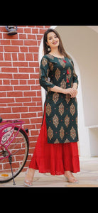 Foil Mirror embroidery work, printed kurti with Sharara