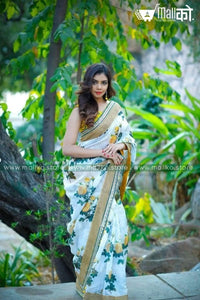 Green Silk Saree with Digital Print
