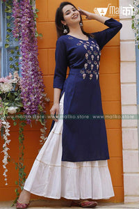Classy Blue Kurta Set with  White Sharara