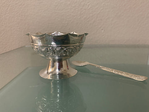Silver bowl and Spoon