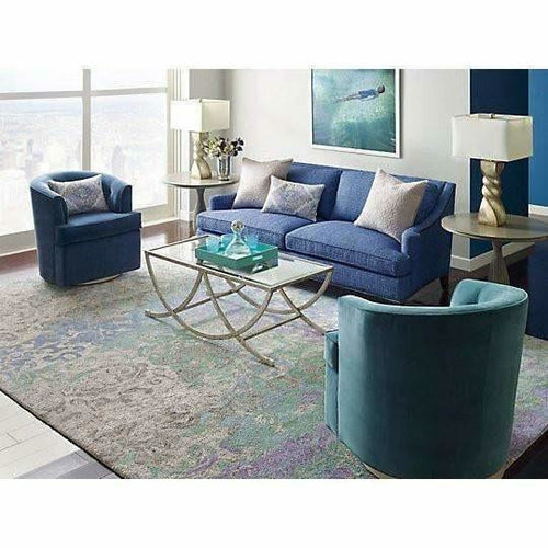 Company C Marquesa Hand-Tufted Contemporary Damask Rug, Blue-Rugs-Company C-Heaven's Gate Home