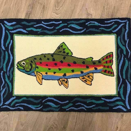 Company C Rainbow Trout 100% Polypropylene Hand-Hooked Rug, Indoor/Outdoor-Rugs-Company C-Heaven's Gate Home