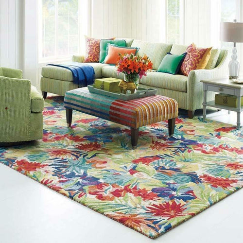 Company C Hibiscus Vintage Inspired 100% Wool Rug, Vibrant Multi Floral-Rugs-Company C-Heaven's Gate Home
