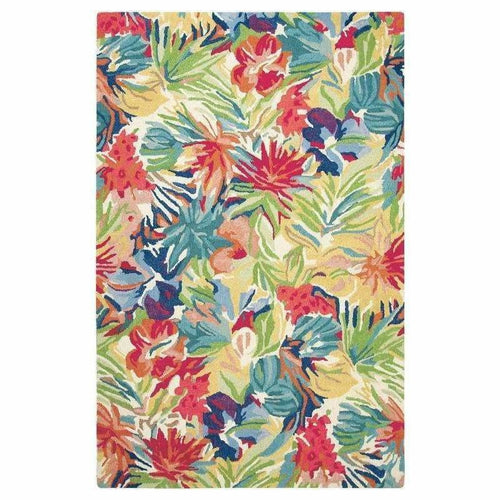 Company C Hibiscus Vintage Inspired 100% Wool Rug, Vibrant Multi Floral-Rugs-Company C-9' x 13'-Heaven's Gate Home