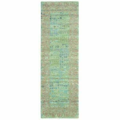 Company C Florence Hand Knotted, 100% Wool Rug, Jade-Rugs-Company C-3' x 8' Runner-Heaven's Gate Home