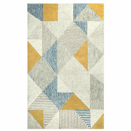 Company C Griffin 100% Wool Hand Tufted Rug, Blue-Rugs-Company C-3' x 5'-Heaven's Gate Home