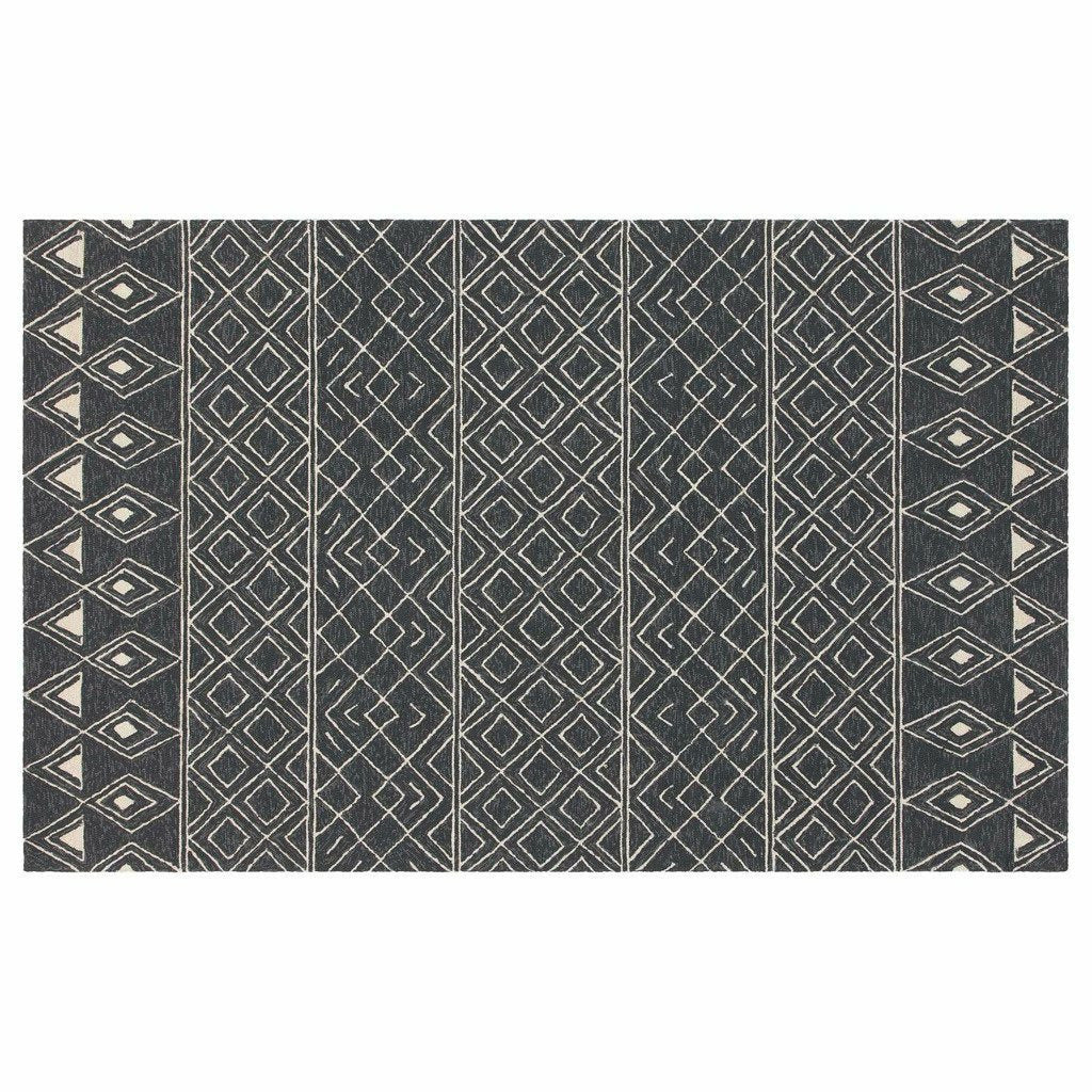 Company C Nomad 100% Polypropylene Hand Hooked Rug, Charcoal-Rugs-Company C-2