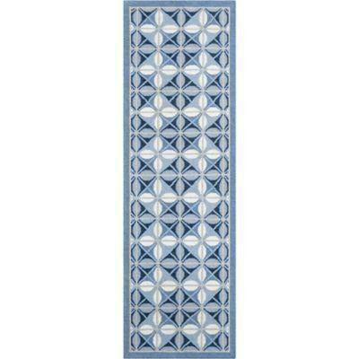 Company C Delphine 100% Wool Hand Woven Soumak Area Rug, Blue-Rugs-Company C-3' x 8' Runner-Heaven's Gate Home