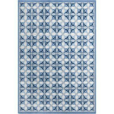 Company C Delphine 100% Wool Hand Woven Soumak Area Rug, Blue-Rugs-Company C-3' x 5'-Heaven's Gate Home