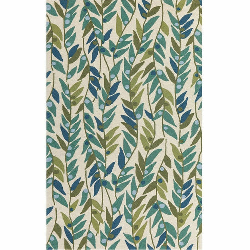 Company C Pea Pods Polypropylene Hand-hooked Indoor/Ourdoor Rug, Green-Rugs-Company C-2' x 3'-Heaven's Gate Home