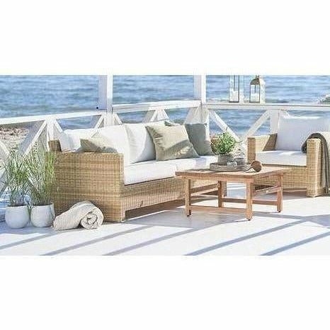 Sika-Design Exterior Sixty 3-Seater Sofa w/ Cushion, Outdoor-Sofas-Sika Design-Natural-Tempotest White Canvas Seat and Back Cushion-Heaven's Gate Home