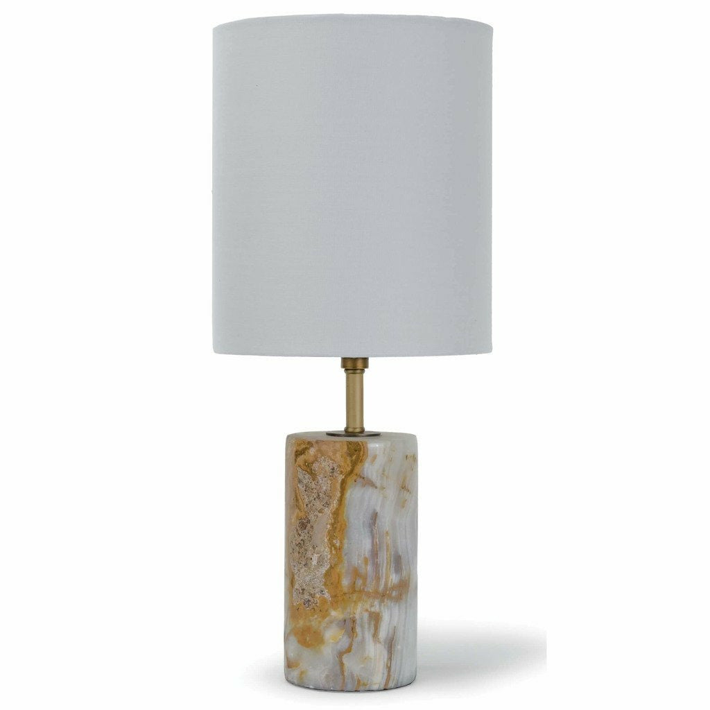 Regina Andrew Jade and Brass Mini Cylinder Lamp-Table Lamps-Regina Andrew-Heaven's Gate Home