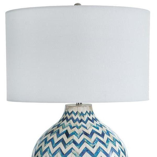 Regina Andrew Chevron Bone Table Lamp, Indigo-Table Lamps-Regina Andrew-Heaven's Gate Home